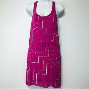 parker silk sequin pink purple racer back dress S
